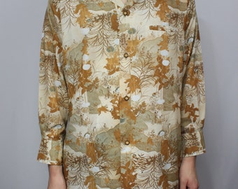 Vintage 70's All Over Fall/Floral Print Polyester Disco Shirt M