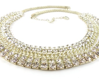 Sparkling necklace from the 1990's. Costume jewellery, bling.