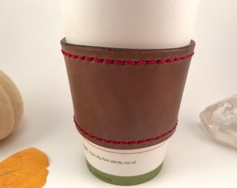 Leather Cup Sleeve (Red)