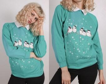 90s Hummingbird Sweatshirt // Vintage Animal Collared Pullover Womens - Medium