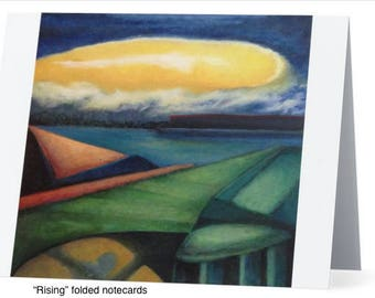 "Art Notecards (Set of 10) - ""Rising"" Folded Notecards printed from original oil paintings, Blank inside"