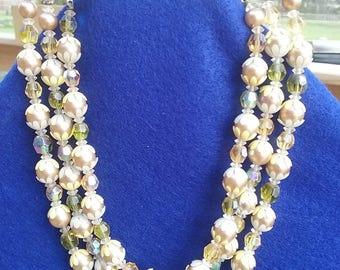 Three Strand Vintage Gold Tone Necklace