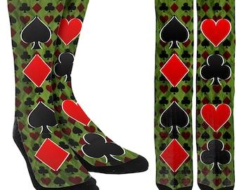 Hearts, Diamonds, Clubs, Spades Crew Socks - Playing Cards - Poker Socks - Casino Socks - Novelty Socks -  100% Comfort - FREE Shipping A71
