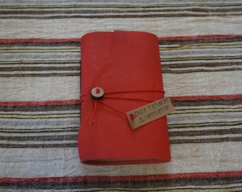 Red Leather Traveler's Journal, Personal Organizer, Bullet Journal