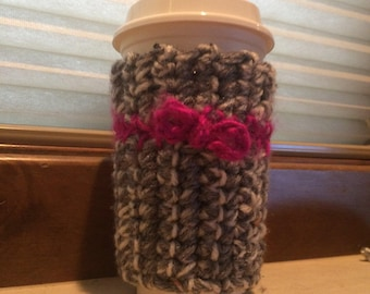 Crocheted coffee cozie with bow
