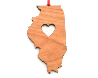 Heart Illinois Christmas Ornament - IL State Shape Ornament with Christmas Heart Cutout - Illinois Ornament Design by Heart State Shop