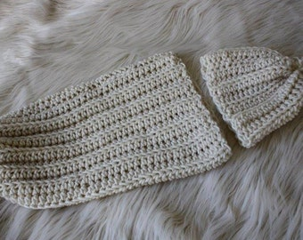 Creme-Ivory Cocoon, Boy-or-Girl Newborn Cocoon, Simple Newborn Cocoon, Newborn-Infant-Baby Cocoon, Earth Tones Baby