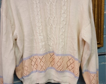 Pastel Crisscross Vintage Sweater
