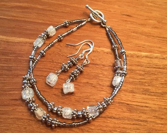 white crystal silver bracelet and earring set