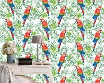 Macaw Parrots With Green Palm Leaves Wallpaper by OJardin