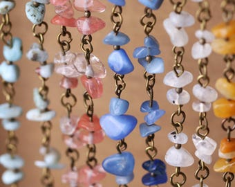 50CM Stone Chain Rosary Chian Stone Beaded Chian Turquoise Beaded Chian Rosary style Chian HPY004