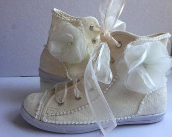 Tenis zapato para novia, xv años, primera comunion, bondeado en encaje