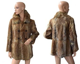 Vintage women fur coat brown