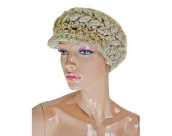 Vintage wool women hat cap natural color elastits