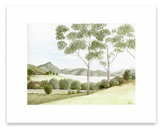 Watercolor painting print - Countryside Scenery - Hinze Dam