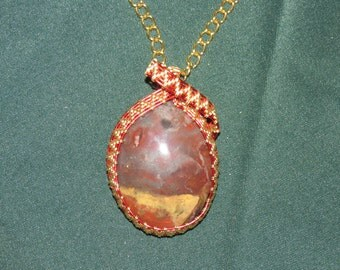 170 Weaved gold and red sarape agate
