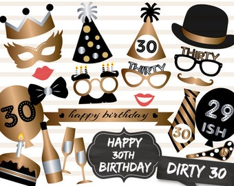 Printable 30th Birthday Party Photo Booth Props, Gold Silver Thirty Birthday Party Photo Booth Props, Instant Download Birthday Props 0001