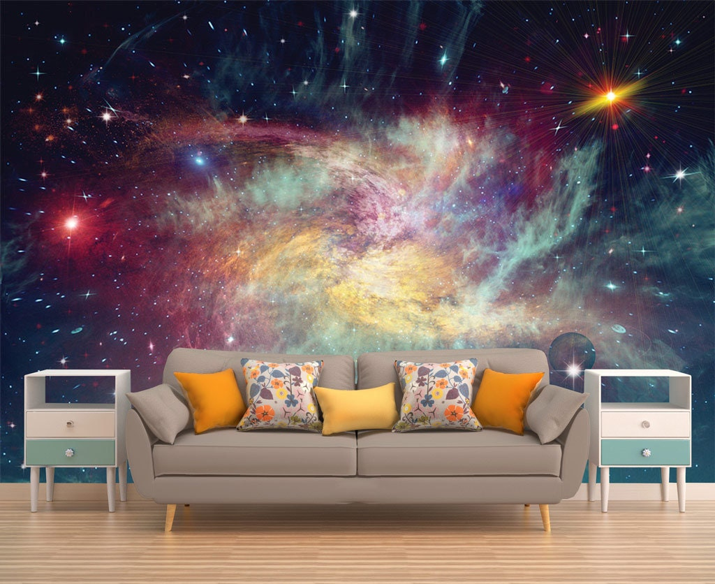 Space wall mural outer space wall mural galaxy wallpaper for Astronaut wall mural