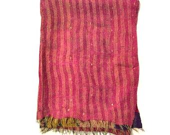 "Kantha Silk Fabric|XL - Scarf ""RAJPUR"" |textile | handmade| pink embroidered shawl | sari Patchwork | kantha stiching| stola | scarves"