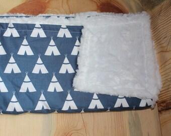 Teepee Blanket-Gender Neutral-Baby Blanket-Cotton Blanket-Baby Shower Gift-Teepee Nursery-Woodland Baby-Rustic Baby