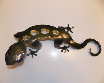 Large Metal Gecko Lizard Sculpture Wall Art Home Decor Decoration and Design Metal Art and Fabrication
