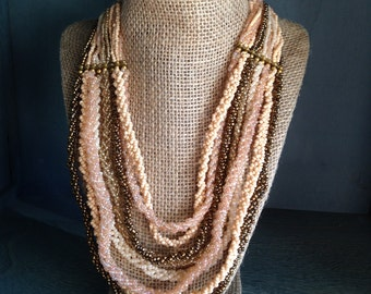 Natural Bliss-  Multi Strand, Natural color beaded necklace.