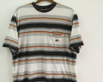 Rare HANG TEN T-Shirts Medium Size Stripe Design Pocket