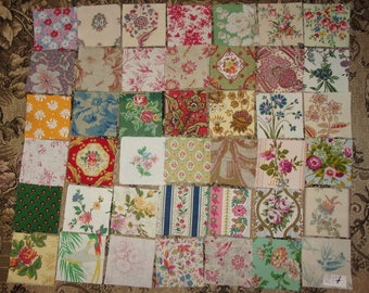 Set of 42 small coupons old fabrics for patchwork, ref 217