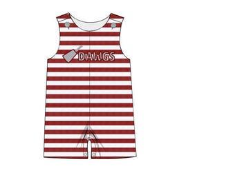 Maroon Stripe Knit Dawgs Shortall
