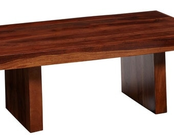 Cube Block Indian Wooden Coffee Table - Honey Stain Finish