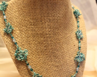 Blue Green Wavy Rosette Necklace