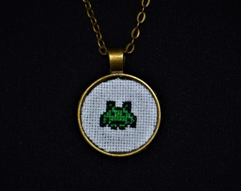 Space Invaders Alien - Handmade Cross Stitch Necklace