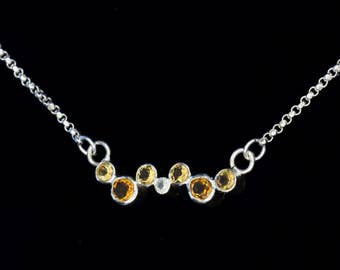 Sterling Silver Bar - Cascading Citrine Bubbles - Pendant - Necklace