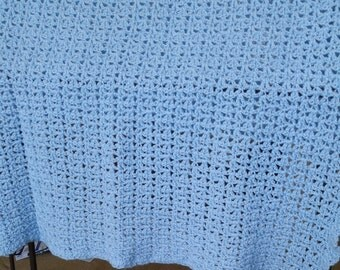 Crocheted lace-style baby blue baby blanket