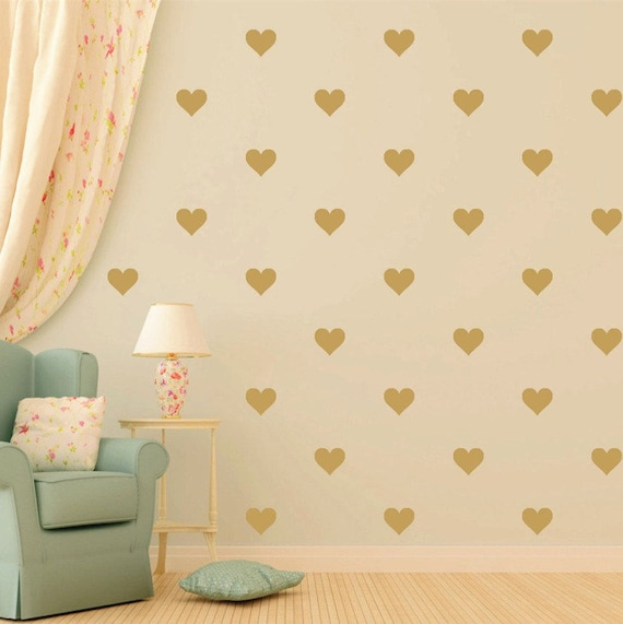 Nursery Decor Heart Vinyl Wall Decal Sticker Set - Peel and Stick Heart Stickers - Wall Pattern Decals - Vinyl Wall Decals