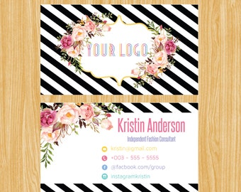 Business Card,Personalized Business Calling Card, Black Gold Floral Small Business Card01