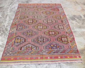 "Area Ethnic Kilim Rug,7,10""x5,8"" Feet 240x173 Cm Vintage Home Floor Decor Turkish Kilim rug,Pastel Color Turkish kilim Rug."