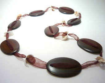 Handmade  rose wood  boho long necklace with shell on organza