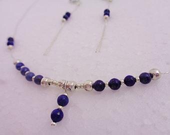 Lapis Lazuli Necklace, 40cm Silver