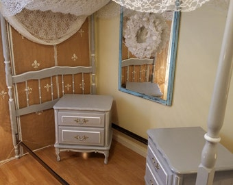 Vintage Twin Size Canopy Bed  and Night Stands Annie Sloan Paris Grey