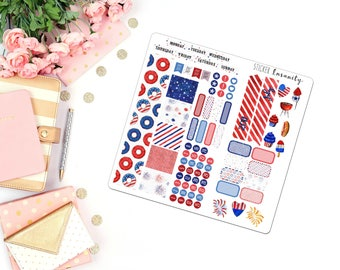 July Monthly Kit: planner stickers, sew much crafting, travelers notebook, fourth of july, independence day