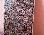 Floral Mandala wall decor, henna mandala art, original painting on canvas, natural henna, Painting with henna, yoga, Zen, ready to hang