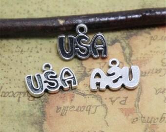 40pcs USA charms silver tone USA Charms Pendants 16x9mm ASD0355