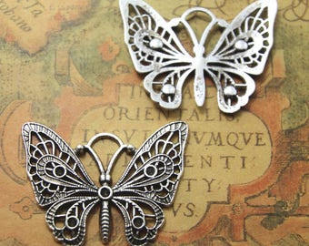 6pcs butterfly Charms Silver tone hollow butterfly charm pendants connctors 38x48mm ASD1106