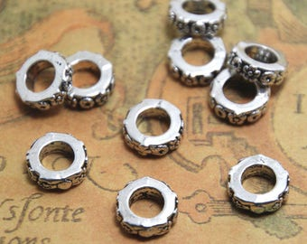 25PCs European Spacer Beads Flower Carved Round Silver Tone 10mm hole size: 4mm ASD1526