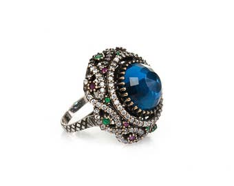 Authentic Ottoman style sterling silver ring for women ZB1025