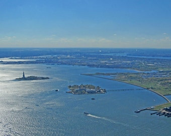 Statue of Liberty and Ellis Island in New York Harbor