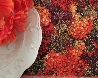 """Fall Table Runner  12"""" x 36"""" or 13"""" x 70"""" Floral Hydrangeas Reversible to Leaf Print"""
