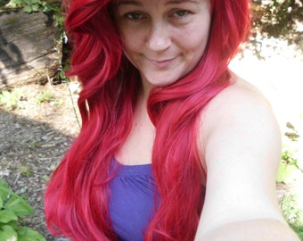 Ariel Wig, Princess Wig, long red wig, Poison ivy mermaid wig, bright red, styled, heat safe, cosplay wig, adjustable, ariel costume