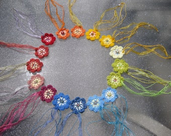 Rainbow Flower Crochet Pendant